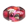 Glass Lamp Bead Oval 12x8mm Silver/Ruby